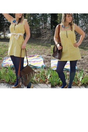 light yellow Luckiest Clothing dress - navy opaque HUE tights