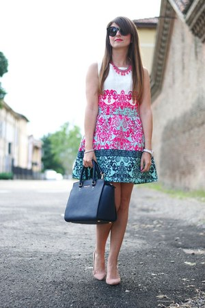 hot pink OASAP dress - navy Michael Kors bag - black Celine sunglasses