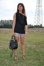 black Miu Miu bag - tan sequined Angie folies shorts - black Sisley blouse