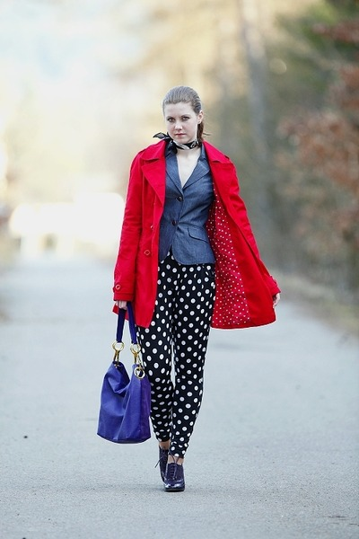 purple Deichmann shoes - red Terranova coat - blue denim Orsay blazer - black an