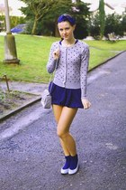 blue reserved socks - dark blue New Yorker dress - grey Chanel purse