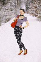 black and white christian dior scarf - red unknown bag - F&F accessories - red N