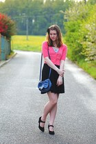 black suede CCC shoes - black Pimkie dress - blue Avon bag - salmon F&F cardigan