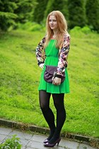 Sheinside jacket - H&M dress - reno bag