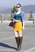 orange Zara skirt - dark brown 5th Avenue boots - blue clockhouse shirt