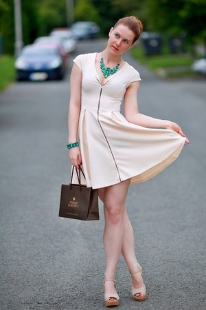 ivory Primark shoes - beige Primark dress - teal Orsay necklace