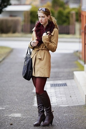 Guess bag - 5th Avenue boots - Tally Weijl coat - lindex tights