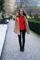 red new look sweater - tan Romwecom coat - black Levis jeans