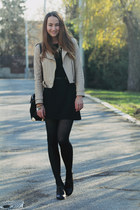 black F&F shoes - black H&M dress - tan Sheinside jacket - black romwe bag