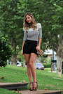 Black-zara-shorts-black-club-monaco-top-dark-brown-prada-heels