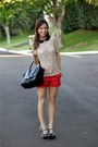 Black-celine-bag-red-zara-shorts-cream-zara-blouse-black-miu-miu-heels