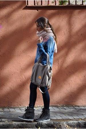 blue Diesel jeans - blue BLANCO shirt - light pink Stradivarius scarf