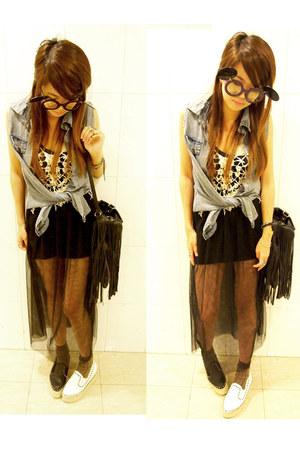 skirt - sunglasses - top - wedges