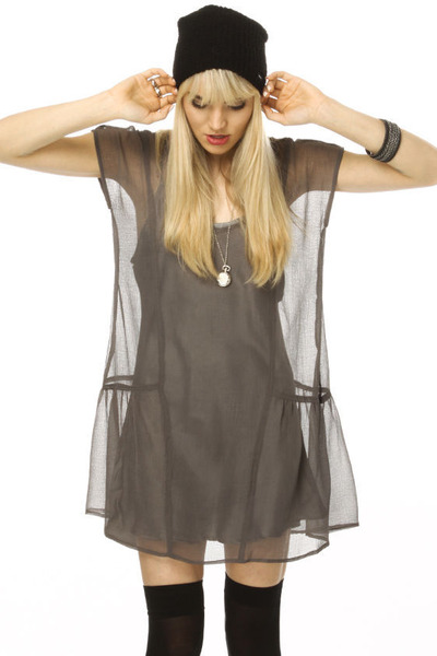 charcoal gray sheer RVCA dress