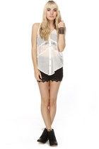 black lace LuLus shorts - black combat LuLus boots - white sheer LuLus blouse