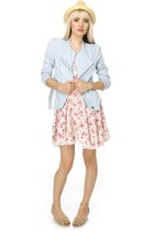 cotton LuLus jacket - floral print LuLus dress - straw LuLus hat