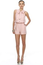 light pink ascot LuLus romper - beige platform floral LuLus heels