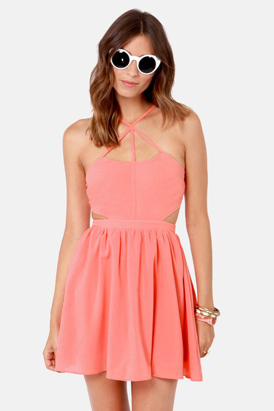 salmon LuLus dress