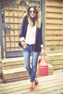 Red-zara-heels-blue-cheap-monday-jeans-black-forever-21-blazer