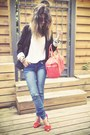 Blue-cheap-monday-jeans-black-forever-21-blazer-coral-my-suelly-bag