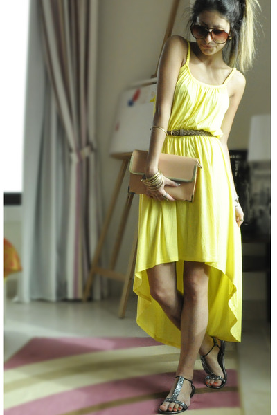 yellow Forever 21 dress - coral Topshop purse