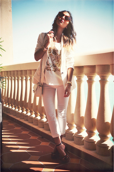 white Zara blazer - white Zara jumper - white Bershka pants