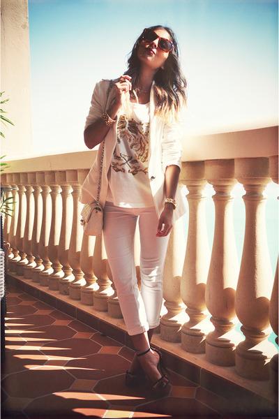 white Zara blazer - white Zara jumper - white Bershka pants