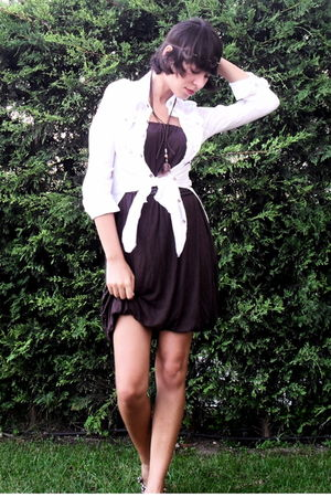 brown Bershka dress - white Pellini shirt - brown by me accessories - collezione