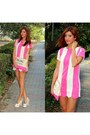 Hot-pink-choies-dress-hot-pink-bershka-bag-white-tue-shoes-İstapark-heels