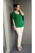 white skinny jeans - green bat wing top - nude heels - bracelet
