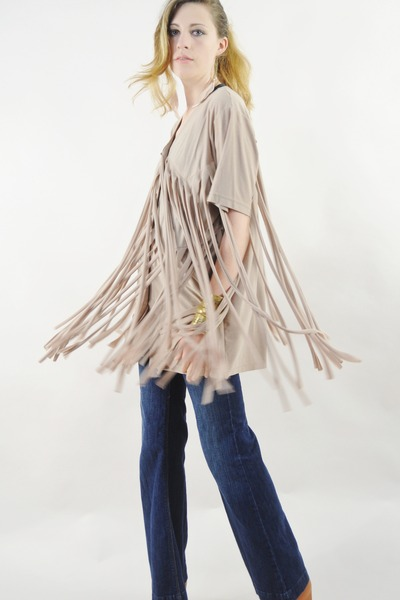 beige tiered fringe Lush Love Lita top