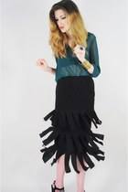 black Lush Love Lita skirt - forest green Forever 21 blouse