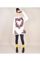 ivory vintage sweater - black Jeffrey Campbell boots - navy lucky jeans