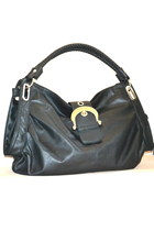ShoeDazzle New Black Vegan Tote Bag Shoulder Bag Purse Black