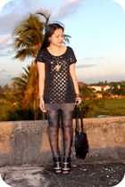cutout shoe boots - bandaged leggings - bag - cross necklace - polka dot top