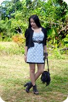 black lace up boots - sky blue denim dress - black fringe bag - silver cross nec