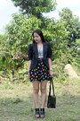 Black-cut-out-shoe-boots-black-blazer-black-bag-black-polka-dot-shorts-g