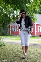 London Fog bag - blue Old Navy sunglasses - silver OhDeer sandals - white TJMaxx