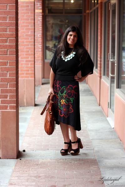 tawny Lucky Brand bag - black Jeffrey Campbell heels - black desigual skirt - bl