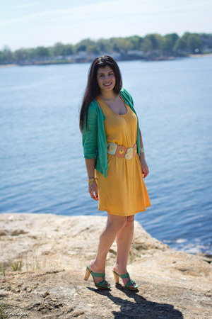 aquamarine Frye sandals - yellow Forever 21 dress - aquamarine H&amp;M cardigan