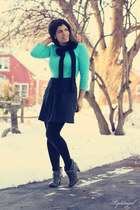 charcoal gray Madden Girl boots - turquoise blue Gap sweater - black Gap scarf -