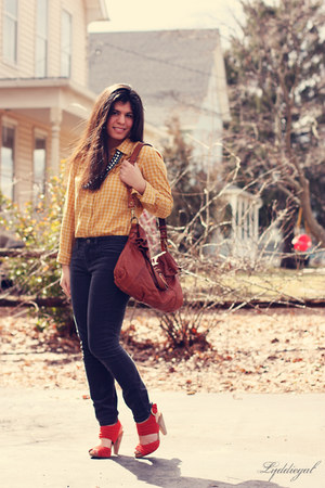 brown Lucky Brand bag - burnt orange seychelles heels - gray JCrew pants - musta