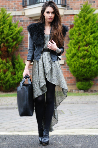 silver Love lable dress - black Topshop shoes - black Topshop jacket