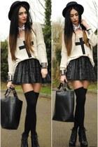 black H&M hat - black romwe bag - white collar Redrock accessories