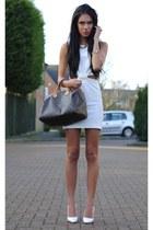 white Love dress - brown Louis Vuitton bag - white H&M wedges