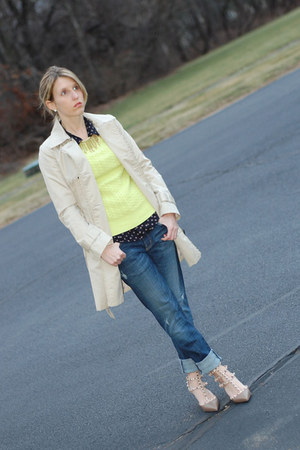 Valentino heels - H&M coat - Current Elliot jeans - Gap sweater