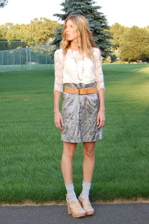 Forever 21 top - J Crew skirt - Steve Madden shoes - martin and osa belt - J Cre