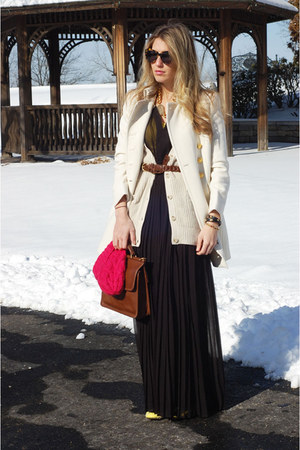 J Crew coat - Forever 21 dress - coach bag - Karen Walker sunglasses