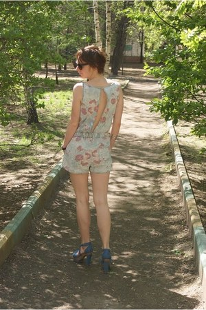 crimson sunglasses - blue denim H&M sandals - light blue Topshop romper