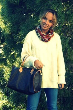 dark brown Louis Vuitton bag - navy H&M jeans - red Stradivarius scarf